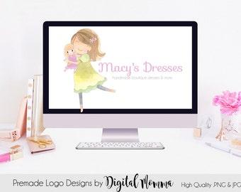 Premade Watercolor Girl Logo Design, Hand Drawn Girl & Doll Logo, PNG and JPG