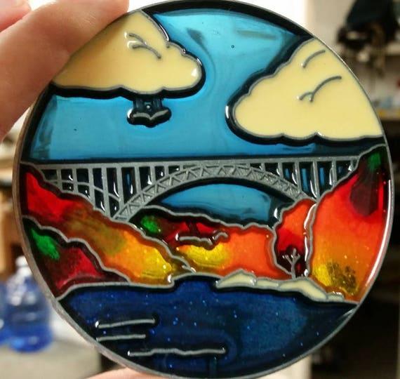 New River Gorge Fall Colors Suncatcher, West Virginia New River Suncatcher, Bridge Suncatcher, Autumn Bridge Suncatcher