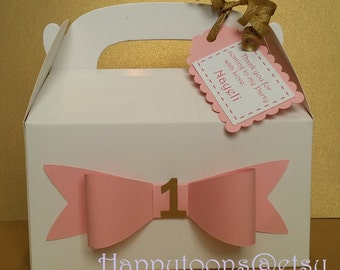 First Birthday favor/treat boxes with thank you tags included - set of 10
