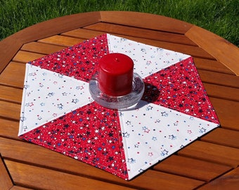Patriotic Stars Table Topper: quilted red white and blue hexagon topper, Americana decor, 4th of July table mat, large candlemat