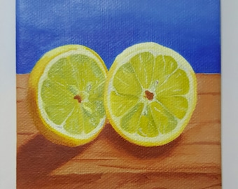 Lemon-4x5 Original Still Life acrylic painting on canvas