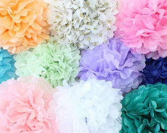 Tissue Paper Pom Poms, Bridal Shower, Baby Shower, Paper Poms, Wedding Poms, Party Decor, Pink Poms, Mint Poms, Peach Poms, Blush Poms