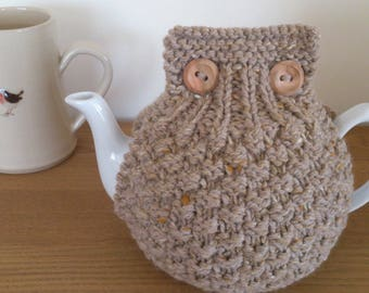 Beige/Camel hand knitted tea cosy with wooden button detail - Size LARGE to fit 10 cup teapot (1.7 Litre) - READY to SHIP