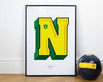 N is for Norwich City, Football Typography Print