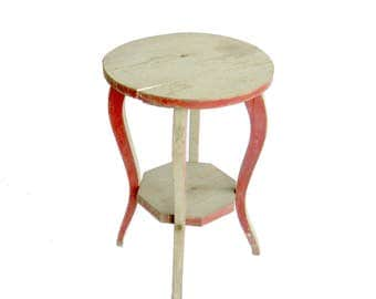 """Vintage Red and Celery Green Wooden Plant Stand, 18"""" H"""