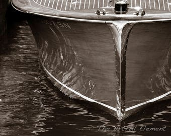 Boat art, Lake house decor, Nautical decor, Wooden boat photography, Sepia print, Chris Craft boat, Coastal decor // Wood & Chrome boat bow