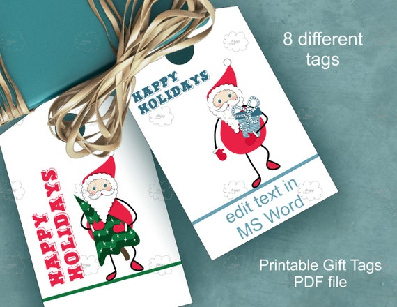 Santa Claus tags, minimalistic tags, white tags Santa Happy Holidays text, printable gift tags, festive tag download
