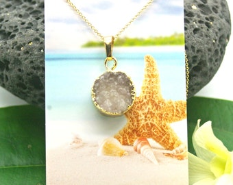 Druzy Necklace, Positive Energy White Druzy and Gold Necklace - Crystal, Druzy, Petite, Gold Necklace