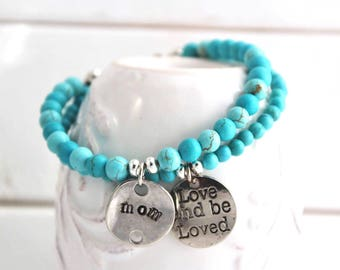 turquoise bracelet gift for mom turquoise jewelry turquoise beaded bracelet boho bracelet turquoise gift for her bracelet for mom mother's