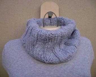 Silver Blue Cowl Scarf. Circle Scarf. Tube Scarf. Hand Knit. Neck Warmer.
