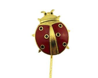 Red Enamel Ladybug Pin, Enamel Ladybug Stick Pin, Red Bug Pin, Red Ladybug Stick Pin