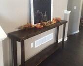 SALE Rustic Large Reclaimed Wood Sofa Console Table 12-3/4x70x30h Long Mud Room Accent W/ Shelf Custom Sizes Colors Cabin Decor Dark Walnut