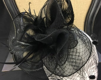 Vintage inspired black feather tulle fascinator