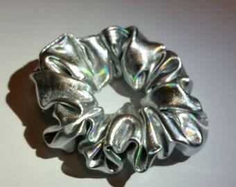 Holographic Metallic PVC UFO Hair Scrunchies Grunge 90s Hologram Kawaii Ties Bun Wraps Iridescent Girl Gang Accessory Silver Nebula Mermaid