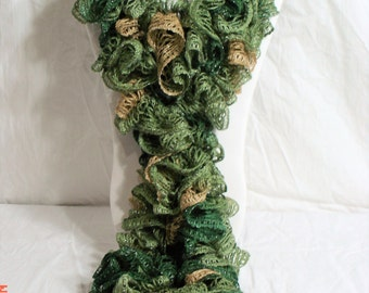 Earth Green Crochet Ruffle Scarf