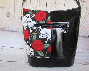 Black with White Skulls shoulder bag