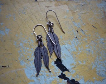 Vintage Navajo Native American Sterling Silver Feather Dangling Earrings