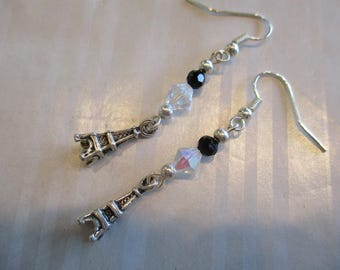 Handmade For You Jet Black and Clear Swarovski Crystal Beads and Silver Eiffel Tower Paris France Earrings Silver French Hook Earring E230