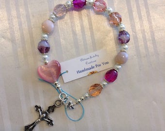 Handmade For You Beaded Complete Single Decade Rosary Bracelet, Pink Rose Quartz Heart Czech Glass Crystal, Crucifix, Catholic Prayer RB13