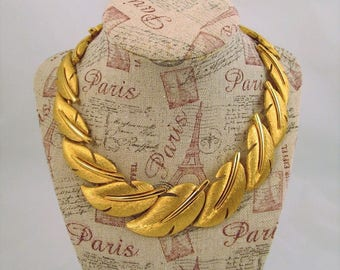Vintage Givenchy Leaf Collar Necklace Heavy Gold Plate 1980s Bling