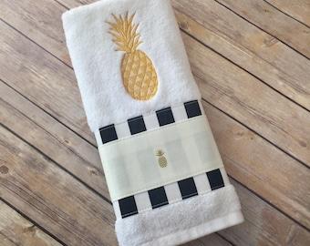 Pineapple Towels, Gold Pineapple, hand towels, bath towels, black stripe, pineapple bath towels, gold, bathroom decor, bath, aloha, Hawaii