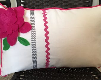 Flower Pillow Cover 12 x 20 inch Floral Pillow Cover Pink Flower Pillow Cover Lumbar Pillow Cover Long Pillow Cover Girl Room Decor