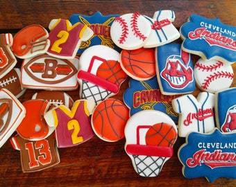 Baseball, football, basketball cookies (Cleveland Cavaliers, Cleveland Browns, Cleveland Indians)