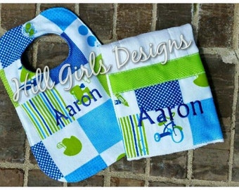 Baby Boy Burp Cloth and Bib Set with Minky Back and Babies Name