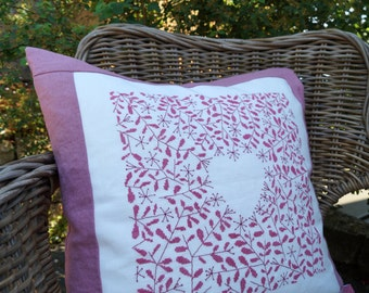 Cushion heart cross stitch pink