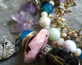 genuine stones necklace, three  strands necklace, agates necklace,amazonite  necklace, sea horse necklace, colorfull necklace, aqua necklace