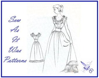 "1950s Nightgown Nightdress Negligee Ruffles Frills Midriff Band Evening Length Dress Vintage Sewing Pattern Fashion Cut 2786 Size Bust 32"""