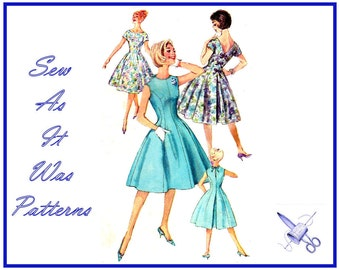 "1960s Simplicity 3930 Princess Seam Flared Invert Pleat Dresses Scoop Jewel Neck Back Bow Trim Vintage Sewing Pattern Size 12 Bust 32"" 83cm"