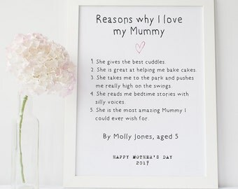 Mother's Day gift - personalised mother's day print - mummy print - mother's day present - gift for mom - personalised mum print