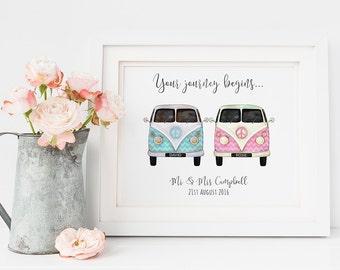 Wedding gift print - personalised wedding gift - camper vans - journey quote print - wedding day - custom wedding gift
