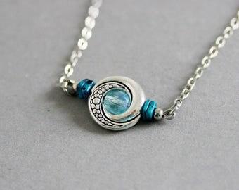 Eye Necklace Silver Blue Necklace Short Necklace Minimalistic Necklace Round Pendant Necklace Silver Charm Necklace Beaded Silver Necklace
