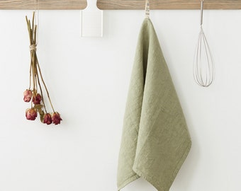 Sage Stone Washed Linen Tea Towel