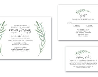 Printable Wedding Invitation | Customised | Wedding Invitation | Wedding Invitation Set | Garden Leaves Suite