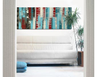 Painting, Abstract Art, Canvas Wall art, Blue Paneled Landscape j10, On canvas, Original Art, Landscape Art, Abstract Painting Ronald Hunter