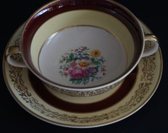 FREE SHIPPING, Vintage, Johnson Bros England Pareek Bullion Cup with Saucer