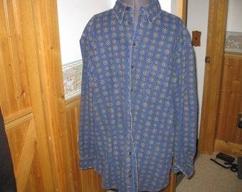 Vtg Chamois Cloth 80s Geometrc print Blue Woolrich XL  USA heavy chamois flannel shirt - XL free ship Red