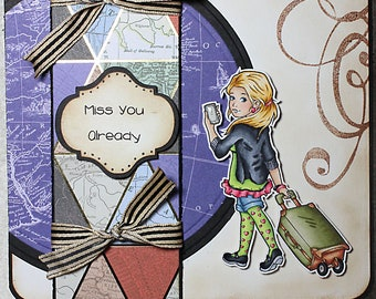 Miss You Already Missing You Travel Map Luggage Adventure Vacation Traveling Girl Unique One of a Kind Handmade Unusual Greeting Card