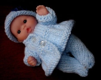"Lots To Love, Berenguer, Tiny Miniature Doll - Too Cute For Words Baby - 5"" Tall - Blue Hand Knit Coat Outfit"