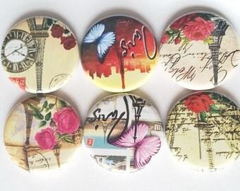 Paris Magnets, Fridge Magnets, Paris, Eiffel Tower, Magnets, Romantic Paris, Pretty Paris, Paris Roses, Paris Butterfly,  Magnets Set of 6