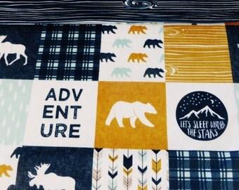Happy Camper Minky Blanket, Personalized Minky Blanket, Minky Baby Blanket, Woodland Blanket, Adventure Blanket, Bear and Elk in Navy