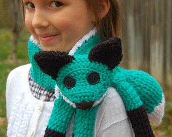 Child's Fox Scarf - Teal