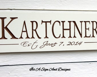 Personalized Family Name sign and Established Last Name Sign. Wedding Gift, Fathers Day Gift, Custom Wooden Sign, Wedding Signs Wood Signage