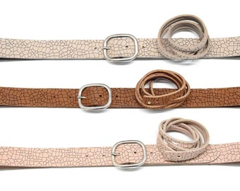 Leather belt women with bracelet Nubuck cow leather