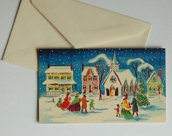 Vintage Village Christmas Card, Un-Used w/Envelope, Sunshine Card, Mid Century 1950's -60's