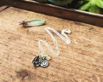 Sterling silver succulent charm necklace with emerald and jade