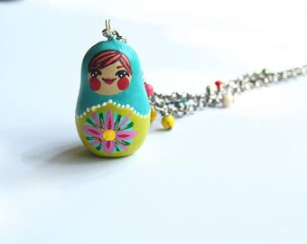 Hand Painted Matryoshka Babushka Russian Nesting Doll Babushka Pendant Bead Necklace Jewelry Rolo Chain Aqua Teal